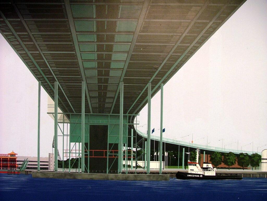 Teknad bild på Göta älvbron från Gryaabs målade kulvert