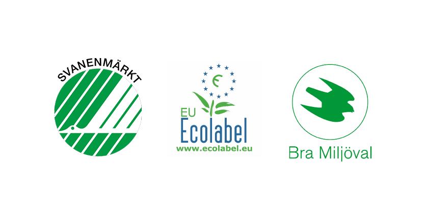Miljömärkerna Svanenmärkt, Ecolabel och Bra Miljöval