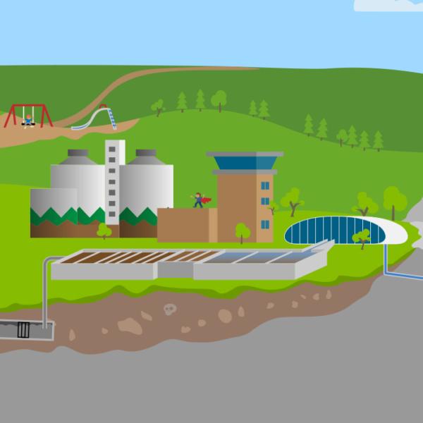 Tecknad skyline från spelet Spoleborg